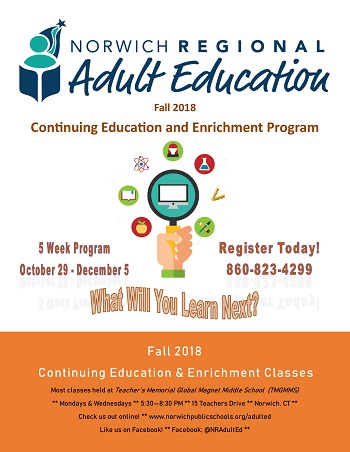 Fall 2018 Continuing Education and Enrichment Poster