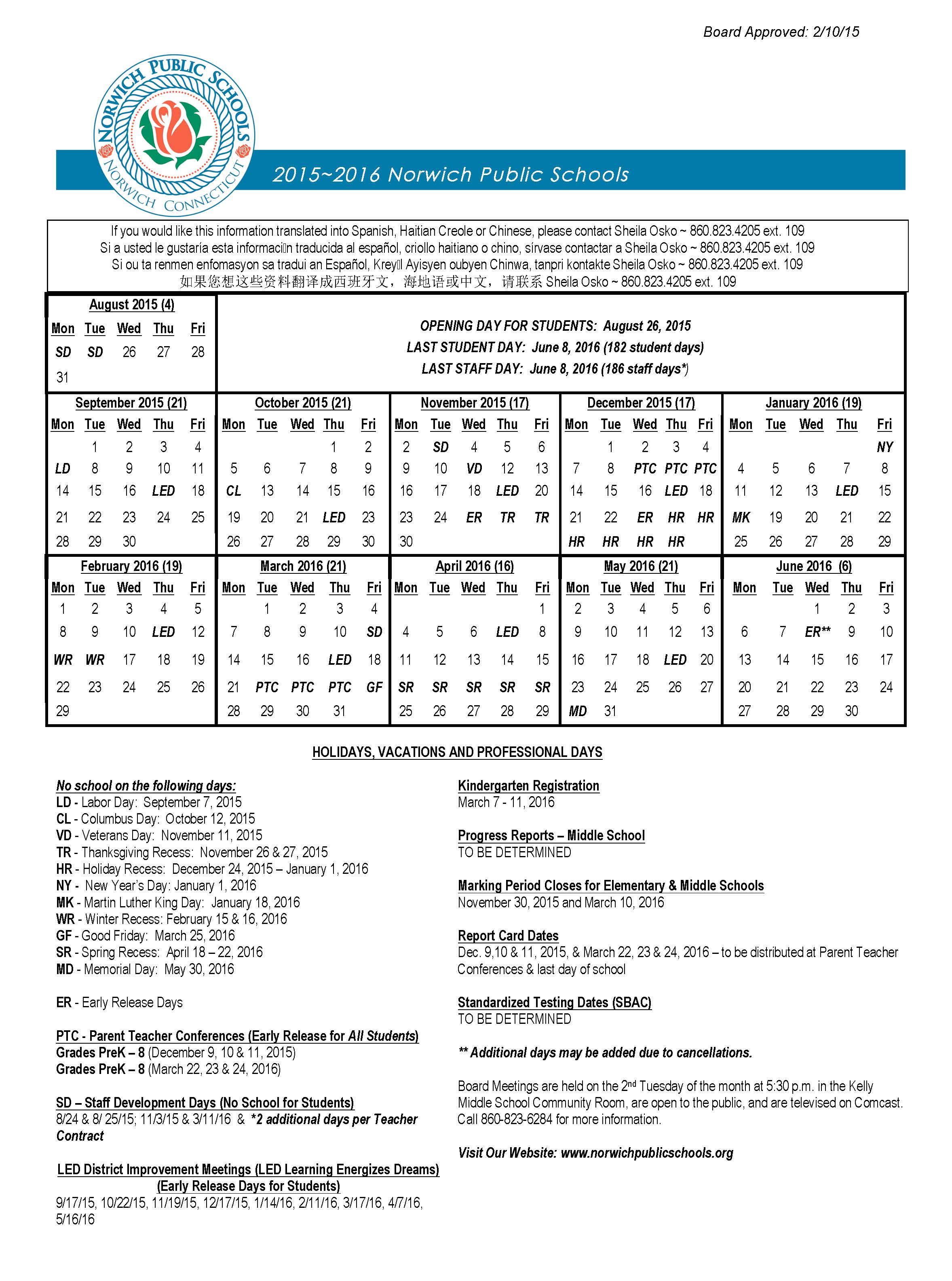 2019 To 2016 School Calendar Norwich Public Schools: Calendars